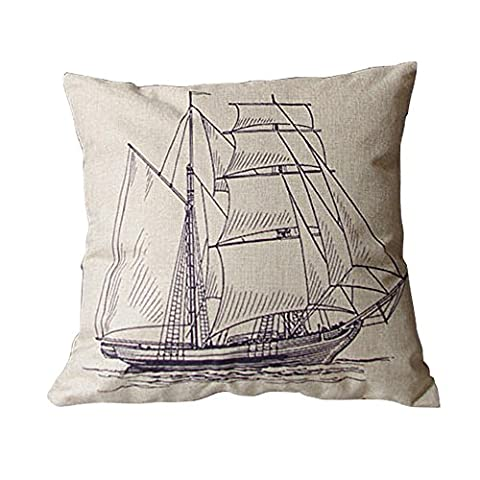 Luxbon Vintage Sailing Boat Seaside Cushion Cover Durable Cotton Linen