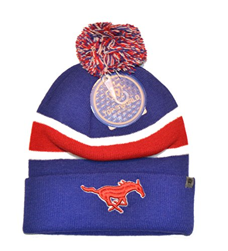 Smu Mustang Logo (Top of the World beidseitigen Whirl Beanie mit Pom Pom - NCAA Cuffed Knit Cap, Unisex, SMU Mustangs)