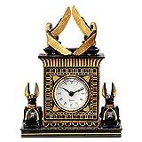 Design Toscano WU70627 Horloge avec Sculpture du Dieu égyptien Anubis, Noir, 11,5 x 16,5 x 21,5 cm