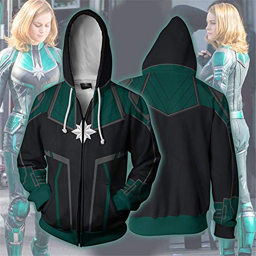 Muswanna87 Captain Mar-Vel 3D Printed Long Sleeve Pullover, Billy Batson Movie Figure Unisex Hooded Sweatshirt Fashion Casual Loose Streetwear Hooded Sweatshirt, Large