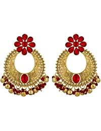 Spargz Antique Gold Plated Red AD Stone Wedding & Party Wear Bollywood Chandelier Earrings For Women AIER 1339