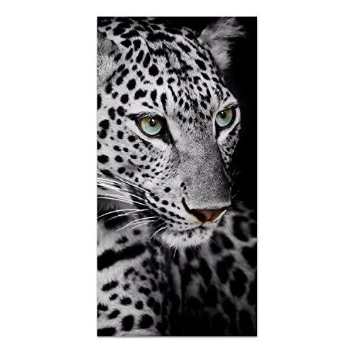 DekoGlas Glasbild \'Leopardporträt\' Echtglas Bild Küche, Wandbild Flur Bilder Wohnzimmer Wanddeko, einteilig 50x100 cm