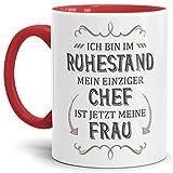 Tassendruck Geschenk-Tasse Zum Ruhestand mit Lustigem Spruch:Mein einziger Chef ist Jetzt Meine Frau/Rente/Rentner/Pension/Abschieds-Geschenk/Innen & Henkel Rot