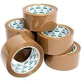 Pakit - 6rollos de cinta marrón resistente para embalar cajas y paquetes, con más adhesivo • 48mm x 66m