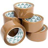 PAKIT Paquete de 6 rollos de cinta de embalaje, 6 rollos de alta resistencia, calidad comercial, 48 mm x 66 m, cinta transparente para embalaje, mudanza y envío, color marrón