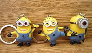 Beitoy - 3pcs in 1 Set 3D 3.5cm Despicable Me Minions llavero Keychain Mi Villano Favorito Keyring Muñeca Stewart y Jorge regalo de Beitoy