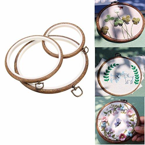 ARTISTORE Hölzern Stickerei Hoop/Embroidery Ring/Cross Stitch Hoop für Kunsthandwerk Handnähen, 3Stück Stickrahmen