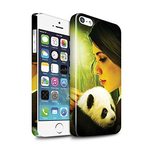 Officiel Elena Dudina Coque / Clipser Brillant Etui pour Apple iPhone 5/5S / Le Calin/Chiot/Chien Design / Les Animaux Collection Petit Panda/Bambou