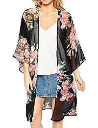 Tongshi Las mujeres de la impresión floral de la gasa floja Mantón kimono Cardigan cubierta superior hasta blusa de la camisa