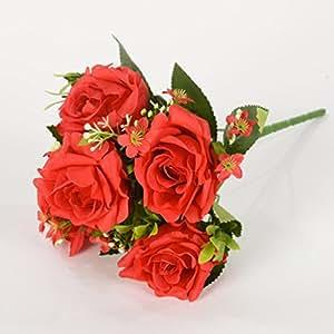 5 Ast da Bouquet di fiori in seta artificiale rosa con piccoli fiori per la decorazione domestica Natale Rosso