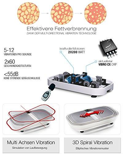 TESTSIEGER Sportstech Profi Vibrationsplatte VP300 Mit 3D Wipp Vibrations Technologie – Bluetooth A2DP Musik, Riesige Fläche-2 Kraftvolle Motoren – Einmaliges Design – Trainingsbänder – Fernbedienung - 6