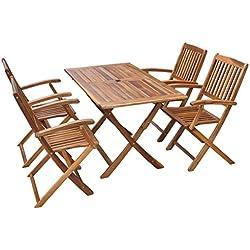 vidaXL Conjunto de comedor exterior 5 piezas madera acacia