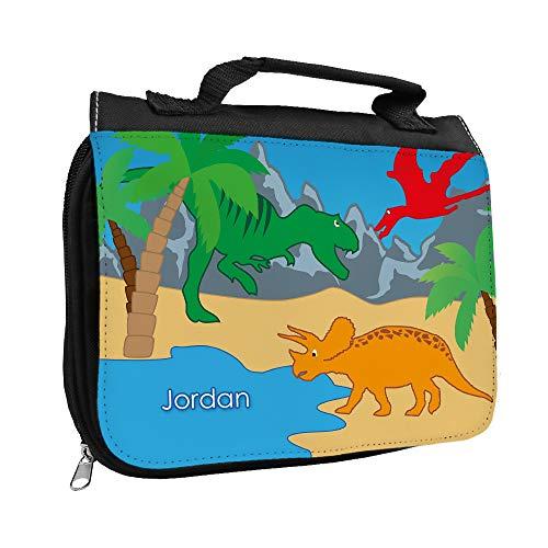 Kulturbeutel mit Namen Jordan und Dinosaurier-Motiv für Jungen | Kulturtasche mit Vornamen | Waschtasche für Kinder