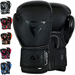 EMRAH Charged V-2 Boxing Gloves Muay Thai Training Maya Hide Leather Sparring Punching Bag Mitts kickboxing Fighting (Matt Black, 16 OZ)
