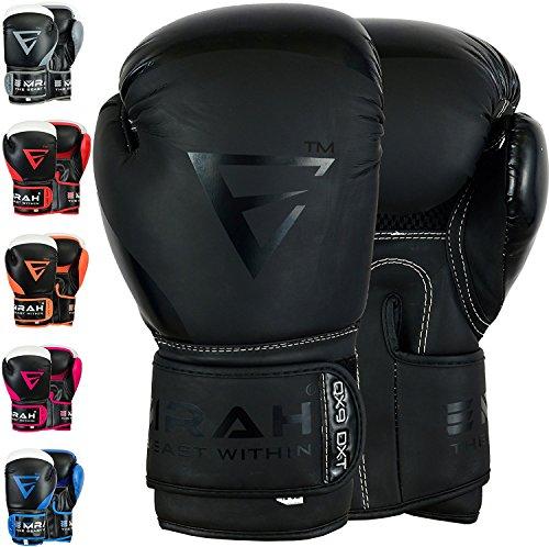 EMRAH Geladen V-2 Boxhandschuhe Muay Thai Training Maya Hide Leder Sparring Boxsack Handschuhe Kickboxen Fighting BOXING TRAINING GLOVES (mattes schwarz, 14 OZ)