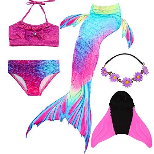 en Meerjungfrau Schwanz Badeanzug - Prinzessin Cosplay Bademode für das Schwimmen mit Bikini Set und Monoflosse,3-12 Jahre alt ()