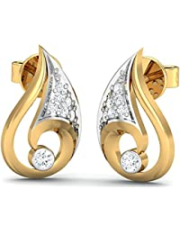 Stylori 18k Yellow Gold and Diamond Conch Pave Stud Earrings