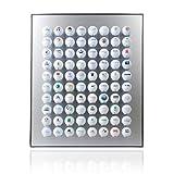 KNIX Premium Golfball Setzkasten aus Aluminium für 80 Golfbälle - Schaukasten, Golf-Regal Vitrine Display passionierte Golfer