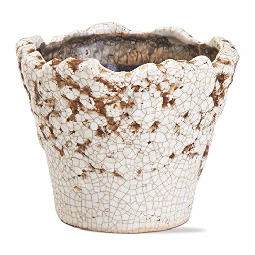 TAG Terracotta Floral Übertopf Topf Container-Pflanzen Blumen Clay Aged Look weiß -