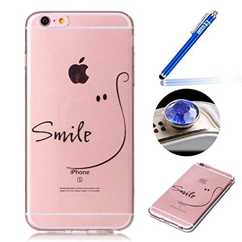 Etsue TPU Schutzhülle für iPhone 6s Plus/iPhone 6 Plus Ultra Dünn Crystal Silikon Handyhülle Case Cover, iPhone 6s Plus/iPhone 6 Plus Kristall Klar Durchsichtig Handytasche TPU Silikon Transparent Cle Lächeln
