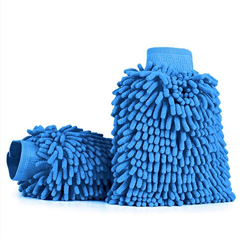 Aodoor 2 Pack Waterproof Microfiber Glove, Chenille Car Wash Mitt, Mitt Microfiber Car Window Washing Home Cleaning Cloth Duster Towel Mitten,Blue