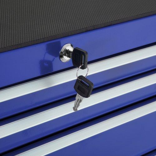 TecTake Werkzeugwagen Werkstattwagen | 7 verschließbare Schubfächer | Kugelgelagerte Gleitschienen | auf Rollen | -diverse Modelle- (Blau | Nr. 402801) - 4