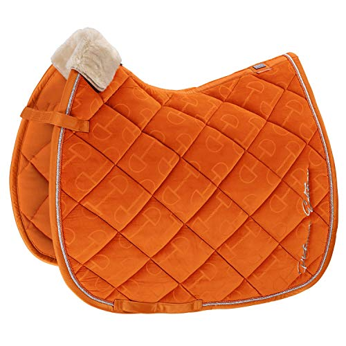 Eskadron Platinum Velvet Stamp Saddle Pad Dressage Vermillion Orange -