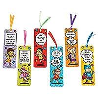 Pack of 12 - Superhero Bookmarks - Super Heroes Party Loot Bags Teacher Rewards