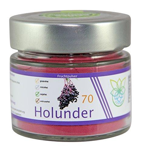 VITARAGNA Holunder Fruchtpulver 70 vegan, Qualitätsprodukt mit reinem Holunder-Fruchtextrakt, Holunderbeer-Extrakt, ohne Zusätze (Holunder-extrakt Zuckerfrei)