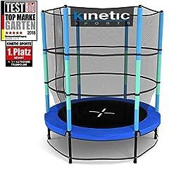 Idea Regalo - Kinetic Sports Trampolino Bambini Indoor Tappeto Elastico 140 cm, Bordo di Protezione, Sistema a Corda Elastica, Rete di Sicurezza, Blu
