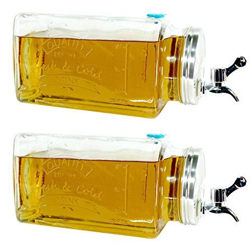 2er Set Glas Getränkespender mit Zapfhahn 3l | Wasserspender Saft Cocktail | Spender Dispenser Saftspender Retro | Glaskrug Getränke mit Hahn