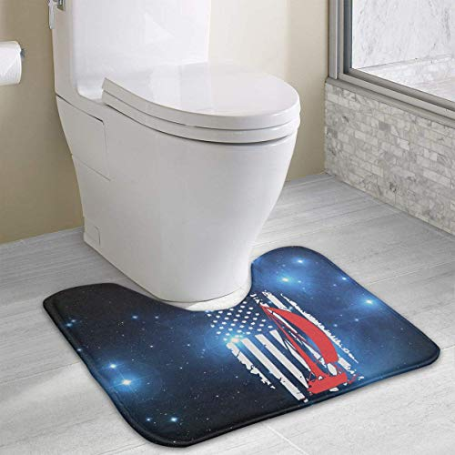 Hoklcvd American Flag Sailing U-Shaped Toilet Floor Rug Non-Slip Toilet Carpets Shower Mat