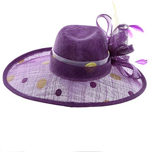 Lxmhz Sinamay Hut für Frauen Kirchenhüte Übertreibung Designer Banketthüte Derby Floppy Dress Wide Hut Chiffon Sonnenhut für Sommer, Party, Strand, Hochzeiten