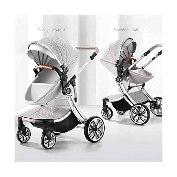 Two Way Fashion Strollers 2 in 1 Baby Pushchairs Newborn Prams Toddlers Bassinet Fold Reclining (Color : White) WSZLSD ◆Stylish dynamic egg-shaped baby stroller, PU leather eggshell seat, effectively protect baby's spine development, add hidden sleeping basket, adjustable handlebar and awning, large storage basket, Rotate the front wheel with a suspension spring, Fully adjustable 5-point harness. ◆Aluminum alloy frame has a good luster, It is lighter than iron (or steel, copper) and never rusts, so it can be used for a longer period of time ◆No need for inflatable rubber explosion-proof wheels, and can easily roll on all rough terrain, such as grass, gravel road, sidewalk, sand and so on,The front wheel has a shock absorber function to protect the baby's body, and the rear wheel has double brakes to ensure safe travel. 5