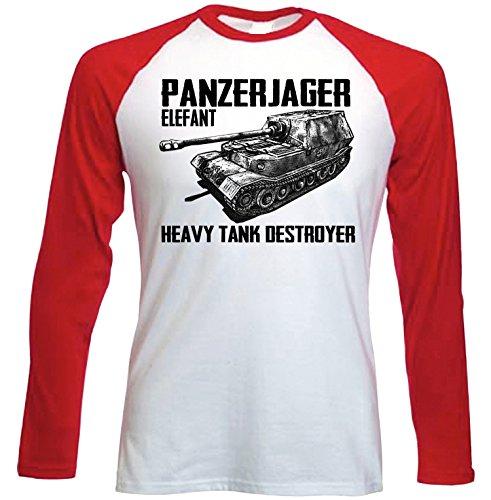 teesquare1st Panzerjager Elefant Camiseta DE Mangas ROJA LARGAS T-Shirt Size Medium