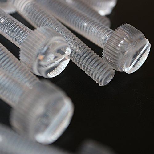 Paquete de 20 tornillos de mariposa de plástico acrílico transparente, estriados y con ranura, M6 x 40mm