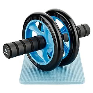 BODYMATE AB Roller Classic Blau I Bauchtrainer mit Knieauflage I Bauchroller mit Komfortgriffen I Bauchmuskeltrainer I AB Wheel