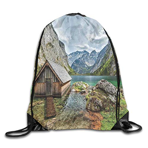 Landscape Duvet Cover Set Twin Size, Dock On The Lake With Small Shed Alpine Mountains Germany European Nature Photo, Drawstring Shoulder Backpack -