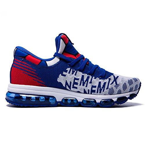 Onemix Chaussures de Sport Homme Tricoter Coussin d'Air White / Blue