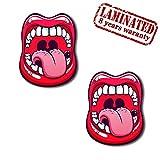 2 Stück Vinyl Lustiger Aufkleber Autoaufkleber Funny Stickers Mund Rote Lippen Auto Moto Motorrad Fahrrad Skate Helm Fenster Spiegel Tür Tuning Z