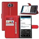 BlackBerry Priv Hülle, HualuBro [Standfunktion] [All Aro& Schutz] Premium PU Leder Leather Wallet Handy Tasche Schutzhülle Case Flip Cover mit Karten Slot für BlackBerry Priv Smartphone (Rot)