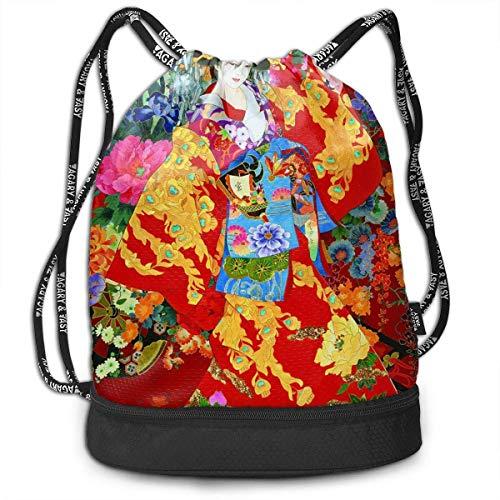Bolsas de cuerdas,Bolsas de gimnasia,Mochilas tipo Casual, Funny Unisex Drawstring Beam Backpack Retro Japanese Geisha Girl Print Backpack