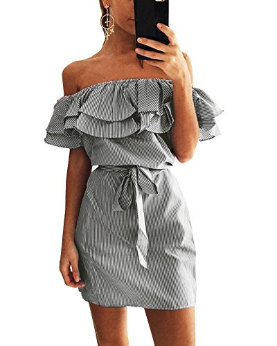 Damen Ärmellos trägerlosen Sommerkleid Off-Schulter Rüschen Party Minikleid Festliches Kleid A-Linie Schwarz