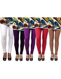 Anekaant Pack Of 5 Cotton Lycra Free Size Women's Legging -White, Violet, Purple, Maroon, Brown