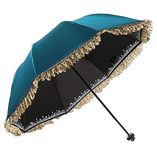 LELVZE Farbwechsel Spitze schwarz verschleierte Prinzessin Sonnenschirm UV-Schutz Sonnenschutz Regenschirm Double Thick Umbrella (Color : Blue) - Prinzessin Weiß Metall Baldachin