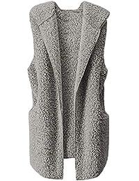 Mxjeeio- 2019 nuevos Mujeres Invierno cálido Chaleco Piel sintética Zip hasta Sherpa Chaqueta Sudadera con Capucha Ropa Elegante Sexy Suelto Moda Casual Color sólido Tamaño Grande Abrigo