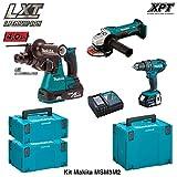 MAKITA Kit MSM3M2 18V (DHR242 + DGA452 + DHP482 + 2 x 4,0 Ah + DC18RC + MAKPAC 2 + MAKPAC 3 + MAKPAC 4)