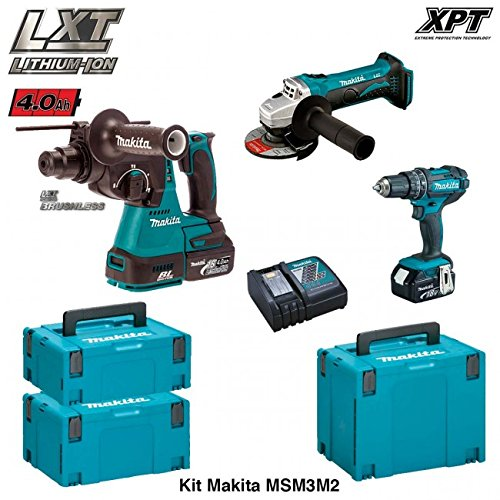 MAKITA Kit MSM3M2 18V (DHR242 + DGA452 + DHP482 + 2 x 4,0 Ah + DC18RC + MAKPAC 2 + MAKPAC 3 + MAKPAC 4) (18-volt-1/2 Lxt Hammer)