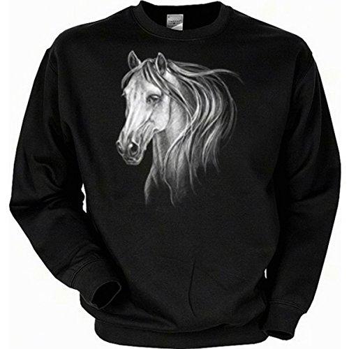 Max Muster Kostüm Wolf - weißes Pferde Motiv Spanisch Reiten Horse Sweatshirt Gr XXL in schwarz