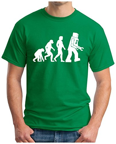 OM3 BIG-BANG-ROBO-EVOLUTION-WS - T-Shirt Roboter Nerd Robot Atom Sarcasm Sitcom TBBT Parody Emo Fun Geek, M, Grün (Emo-nerd)